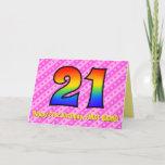 [ Thumbnail: Fun Pink Stripes, Hearts, Rainbow # 21st Birthday Card ]