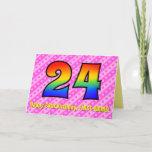 [ Thumbnail: Fun Pink Stripes, Hearts, Rainbow # 24th Birthday Card ]
