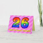 [ Thumbnail: Fun Pink Stripes, Hearts, Rainbow # 26th Birthday Card ]