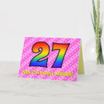 [ Thumbnail: Fun Pink Stripes, Hearts, Rainbow # 27th Birthday Card ]