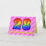 [ Thumbnail: Fun Pink Stripes, Hearts, Rainbow # 28th Birthday Card ]