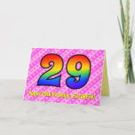 [ Thumbnail: Fun Pink Stripes, Hearts, Rainbow # 29th Birthday Card ]