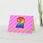 [ Thumbnail: Fun Pink Stripes, Hearts, Rainbow # 2nd Birthday Card ]