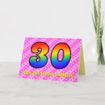 [ Thumbnail: Fun Pink Stripes, Hearts, Rainbow # 30th Birthday Card ]