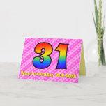 [ Thumbnail: Fun Pink Stripes, Hearts, Rainbow # 31st Birthday Card ]