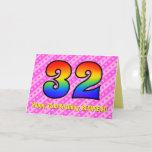 [ Thumbnail: Fun Pink Stripes, Hearts, Rainbow # 32nd Birthday Card ]