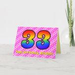 [ Thumbnail: Fun Pink Stripes, Hearts, Rainbow # 33rd Birthday Card ]