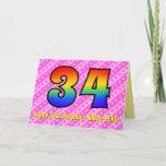 [ Thumbnail: Fun Pink Stripes, Hearts, Rainbow # 34th Birthday Card ]