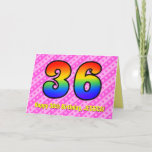 [ Thumbnail: Fun Pink Stripes, Hearts, Rainbow # 36th Birthday Card ]