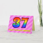 [ Thumbnail: Fun Pink Stripes, Hearts, Rainbow # 37th Birthday Card ]