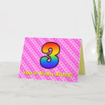 [ Thumbnail: Fun Pink Stripes, Hearts, Rainbow # 3rd Birthday Card ]