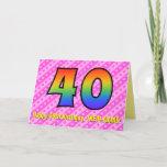 [ Thumbnail: Fun Pink Stripes, Hearts, Rainbow # 40th Birthday Card ]