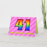 [ Thumbnail: Fun Pink Stripes, Hearts, Rainbow # 41st Birthday Card ]