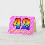 [ Thumbnail: Fun Pink Stripes, Hearts, Rainbow # 42nd Birthday Card ]