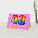 [ Thumbnail: Fun Pink Stripes, Hearts, Rainbow # 43rd Birthday Card ]