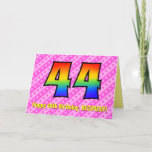 [ Thumbnail: Fun Pink Stripes, Hearts, Rainbow # 44th Birthday Card ]
