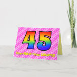 [ Thumbnail: Fun Pink Stripes, Hearts, Rainbow # 45th Birthday Card ]