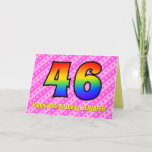 [ Thumbnail: Fun Pink Stripes, Hearts, Rainbow # 46th Birthday Card ]