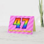 [ Thumbnail: Fun Pink Stripes, Hearts, Rainbow # 47th Birthday Card ]