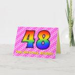 [ Thumbnail: Fun Pink Stripes, Hearts, Rainbow # 48th Birthday Card ]