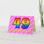 [ Thumbnail: Fun Pink Stripes, Hearts, Rainbow # 49th Birthday Card ]