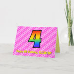 [ Thumbnail: Fun Pink Stripes, Hearts, Rainbow # 4th Birthday Card ]
