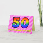 [ Thumbnail: Fun Pink Stripes, Hearts, Rainbow # 50th Birthday Card ]