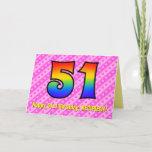 [ Thumbnail: Fun Pink Stripes, Hearts, Rainbow # 51st Birthday Card ]