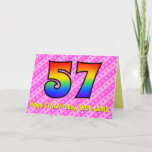 [ Thumbnail: Fun Pink Stripes, Hearts, Rainbow # 57th Birthday Card ]