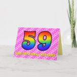 [ Thumbnail: Fun Pink Stripes, Hearts, Rainbow # 59th Birthday Card ]