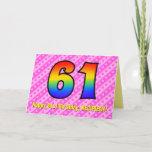 [ Thumbnail: Fun Pink Stripes, Hearts, Rainbow # 61st Birthday Card ]
