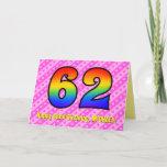 [ Thumbnail: Fun Pink Stripes, Hearts, Rainbow # 62nd Birthday Card ]