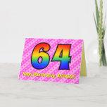 [ Thumbnail: Fun Pink Stripes, Hearts, Rainbow # 64th Birthday Card ]