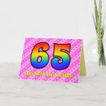 [ Thumbnail: Fun Pink Stripes, Hearts, Rainbow # 65th Birthday Card ]