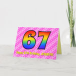 [ Thumbnail: Fun Pink Stripes, Hearts, Rainbow # 67th Birthday Card ]