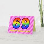 [ Thumbnail: Fun Pink Stripes, Hearts, Rainbow # 69th Birthday Card ]