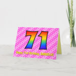 [ Thumbnail: Fun Pink Stripes, Hearts, Rainbow # 71st Birthday Card ]