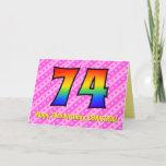 [ Thumbnail: Fun Pink Stripes, Hearts, Rainbow # 74th Birthday Card ]