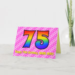 [ Thumbnail: Fun Pink Stripes, Hearts, Rainbow # 75th Birthday Card ]