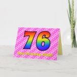 [ Thumbnail: Fun Pink Stripes, Hearts, Rainbow # 76th Birthday Card ]