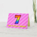 [ Thumbnail: Fun Pink Stripes, Hearts, Rainbow # 7th Birthday Card ]