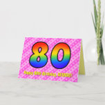[ Thumbnail: Fun Pink Stripes, Hearts, Rainbow # 80th Birthday Card ]