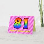 [ Thumbnail: Fun Pink Stripes, Hearts, Rainbow # 81st Birthday Card ]