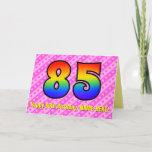 [ Thumbnail: Fun Pink Stripes, Hearts, Rainbow # 85th Birthday Card ]