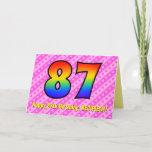 [ Thumbnail: Fun Pink Stripes, Hearts, Rainbow # 87th Birthday Card ]