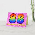 [ Thumbnail: Fun Pink Stripes, Hearts, Rainbow # 88th Birthday Card ]