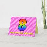 [ Thumbnail: Fun Pink Stripes, Hearts, Rainbow # 8th Birthday Card ]