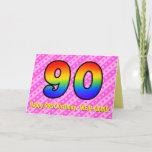 [ Thumbnail: Fun Pink Stripes, Hearts, Rainbow # 90th Birthday Card ]