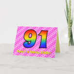 [ Thumbnail: Fun Pink Stripes, Hearts, Rainbow # 91st Birthday Card ]