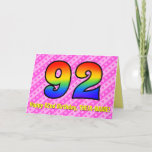 [ Thumbnail: Fun Pink Stripes, Hearts, Rainbow # 92nd Birthday Card ]